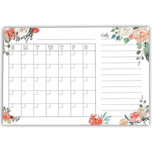 "4-Pack Monthly Calendar Sticky Notes for Planner, Leaf & Floral, 6""x4"""