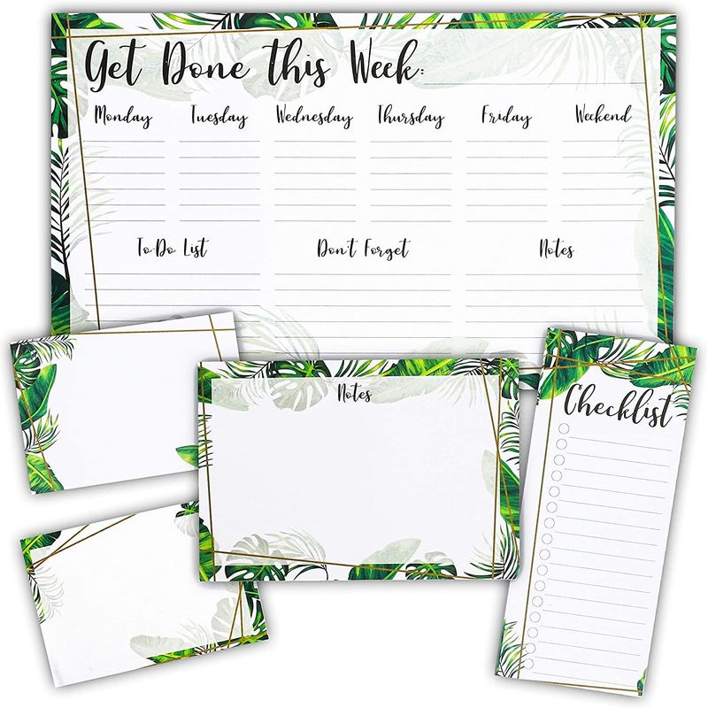 Weekly Planner Pad, Tropical Foliage (5 Pieces, 60 Sheets)