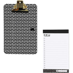 Mini Clipboard with to Do List Pads (6.3 x 4 in, 2 Pack, Black and White)