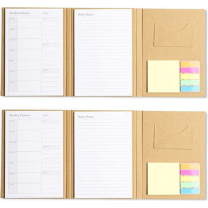 To Do List Notepad, Planner Notebook with Sticky Notes (2 Pack)