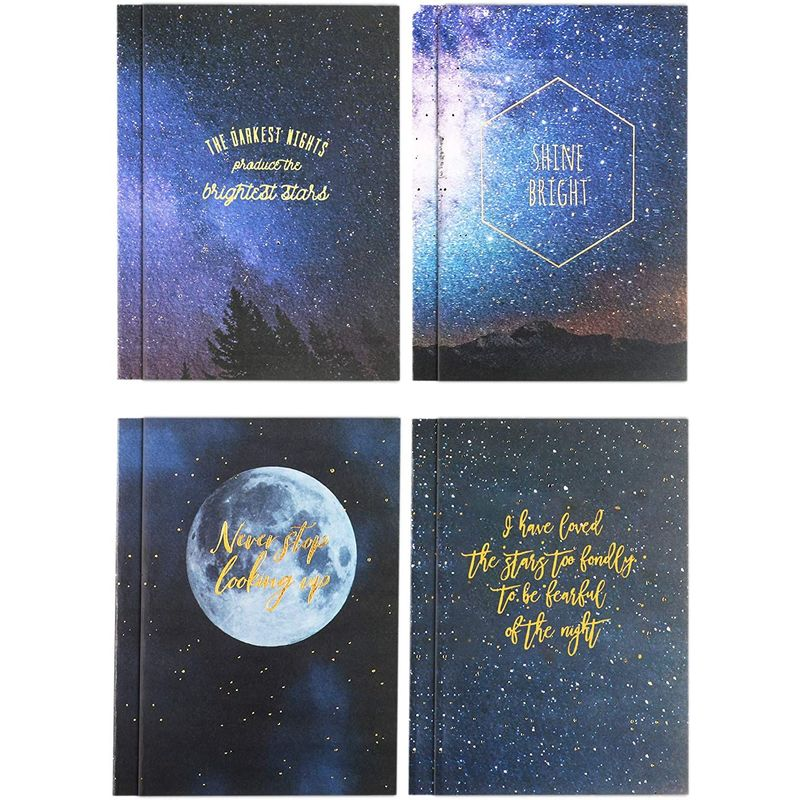 Lined Kraft Notebook Journals, Constellation Inspirational Design (5.75 x 8.25 In, 8 Pack)