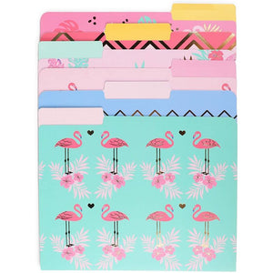 Letter Size Decorative File Folders with Gold Foil, Flamingo Designs (11.5 x 9.5 in, 12 Pack)