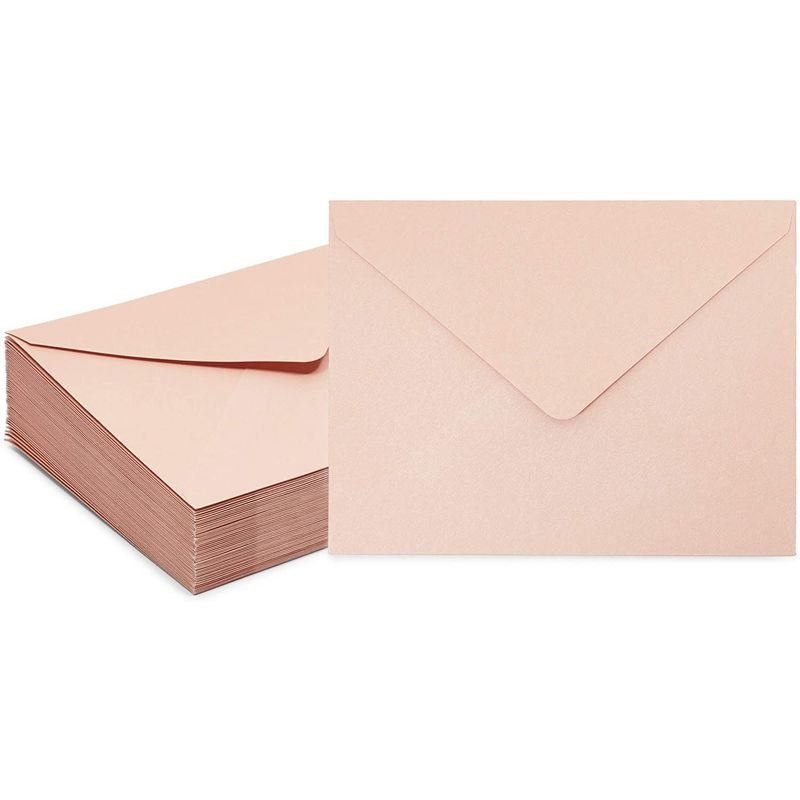 Blush A2 Envelopes for Wedding Invitations, Response Enclosure Showers (5.75 x 4.3 in, 50 Pack)