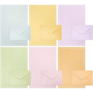Pastel Stationery Paper with Envelopes, 6 Colors (96 Sheets, 48 Envelopes)