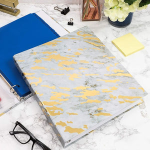 3-Ring Hardcover Binder with Marble Gold Foil Design (10 x 11.5 in, 2 Pack)