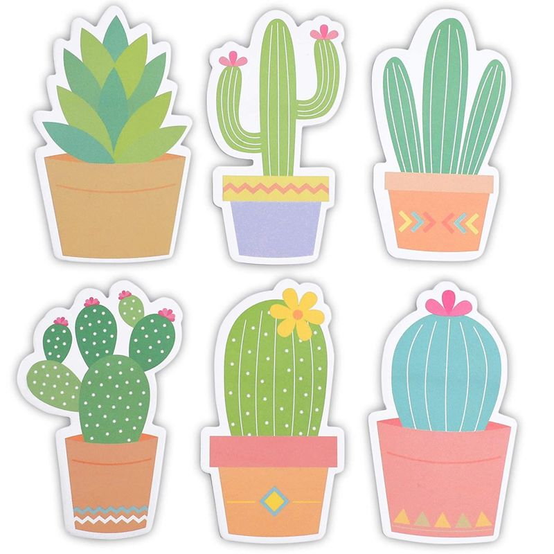 Cactus Sticky Notes, Succulent Note Pad (2.75 X 4.5 In, 6-Pack)