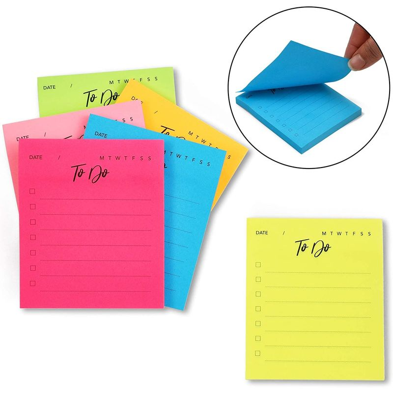 To-Do Sticky Notepads, Neon Colors (3 x 3.5 Inches, 6-Pack)