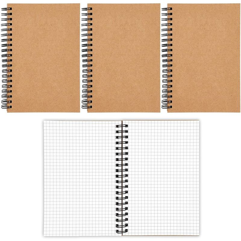 Kraft Spiral Notebooks with Grid Paper for Writing (5 x 7 Inches, 4 Pack)