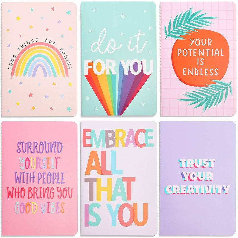 Soft Cover Inspirational Journal Notebooks (5.5 x 8.3 in, 6 Pack)