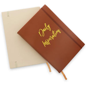 Inspirational Faux Leather Journal Notebook with Kraft Lined Pages (5.4 x 8.3 In, 2 Pack)