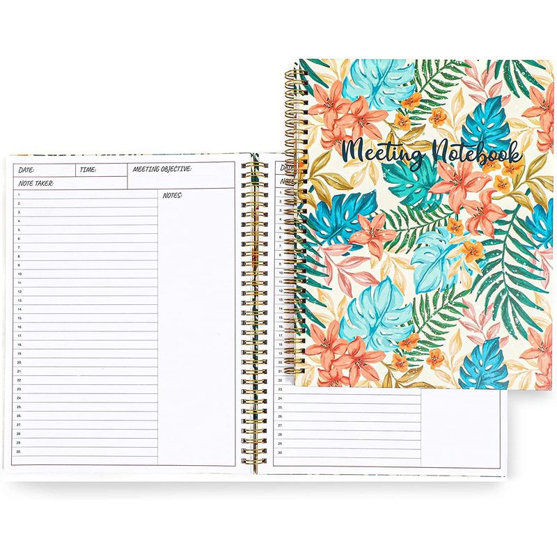 Appointment Spiral Notebook and Meeting Book in Leaf Design (11 x 8.95 In, 2 Pk)