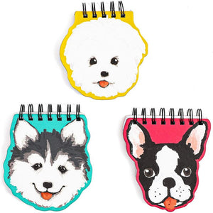 Dog Lover's Hardcover Notebook Set, 3 Die Cut Spiral Notepads (5.5 x 4.5 Inches, 3 Pack)