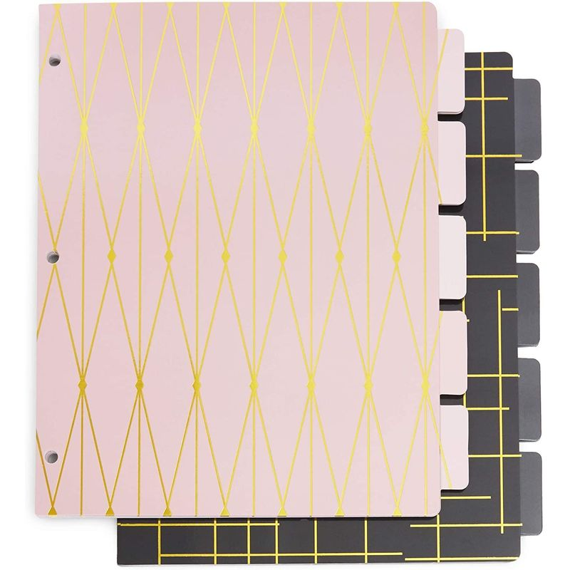 3 Ring Binder Dividers with 5-Tabs, Pink and Black (8.5 x 11 in, 6 Pack)