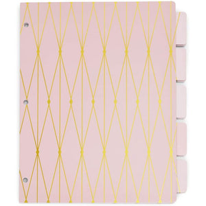 3 Ring Binder Dividers with 5-Tabs, Pink and Black (8.5 x 11