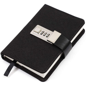 Hardcover Notebook Journal with Lock (Black, 5.75 x 4 In)