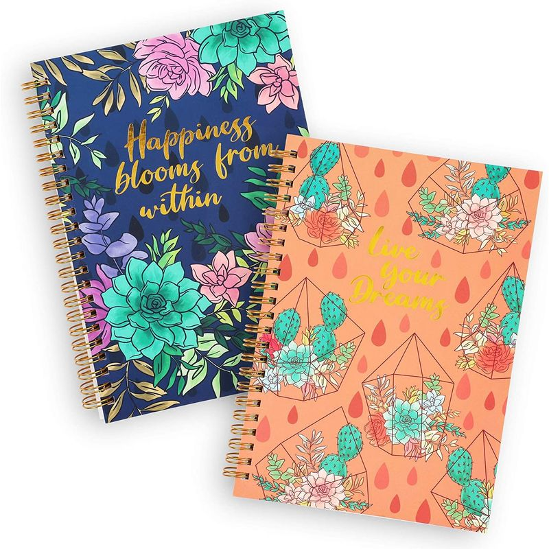 Gold Foil Succulent Spiral Bound Journal Notebooks (8.25 x 6.15 in, Set of 2)