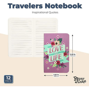 Motivational Pocket Travel Journals, Lined Notebooks (5.25 x 3.25 In, 12 Pack)