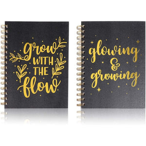 Motivational Spiral Notebooks, Gold Foil Journals (5.25 x 8.25 in, 2 Pack)