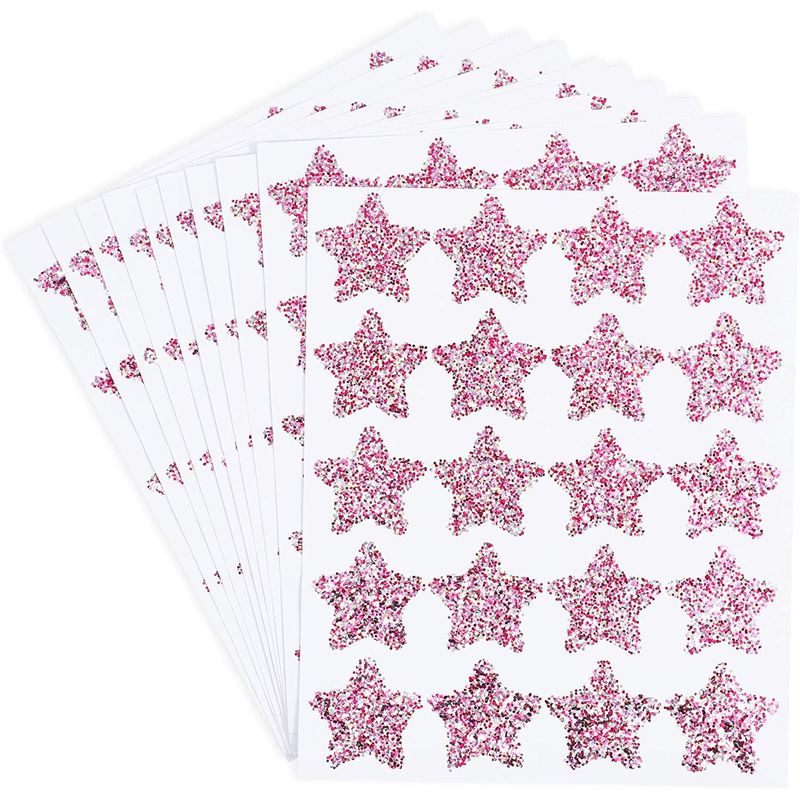 Glitter Star Stickers, Hot Pink, 10 Sheets (1.5 Inches, 200 Pieces)
