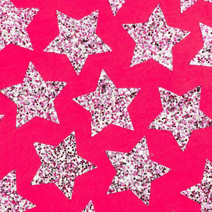 Glitter Star Stickers, Hot Pink, 10 Sheets (1.5 Inches, 200