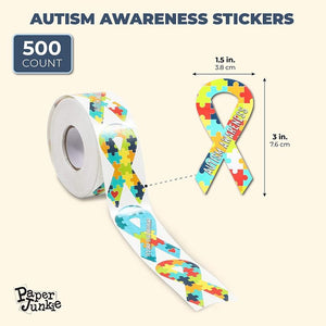 Autism Awareness Ribbon Stickers Roll (1.5 x 3 In, 500 Stickers)
