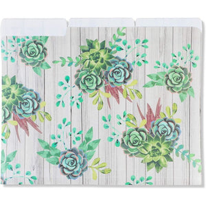 Cactus File Folders, Succulent Floral Office Supplies (Letter Size, Plastic, 6 Pack)