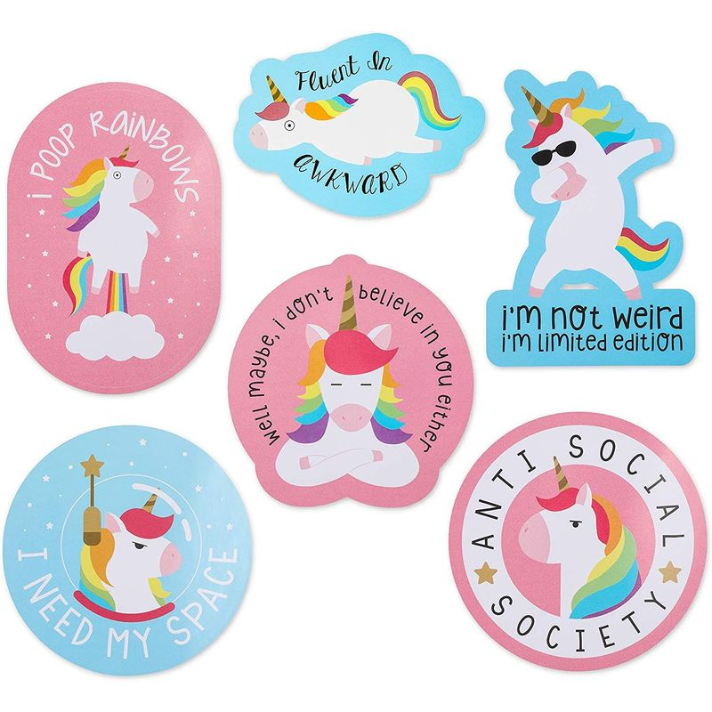 Unicorn Sticker Packs, Funny Decals for Decorating (6 Designs, 6 Pack)