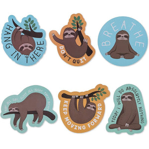 Sloth Sticker Pack for Decorating Laptops, Cars, Water Bottles (6 Pack)