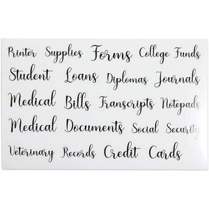 Black Decorative Script Labels for Office Organizing Supplies (13 Sheets)