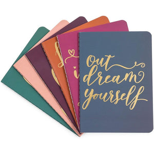 Inspirational Mini Pocket Notebooks for Travel, Gold Foil (4 x 5.6 Inches, 12 Pack)