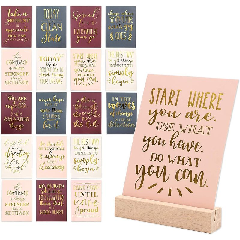 Inspirational Cards with Wood Stand (21 Pack)
