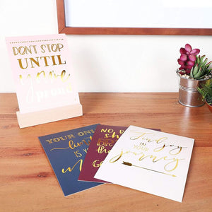 Inspirational Desk Art, Cards with Wooden Stand (21 Pieces)