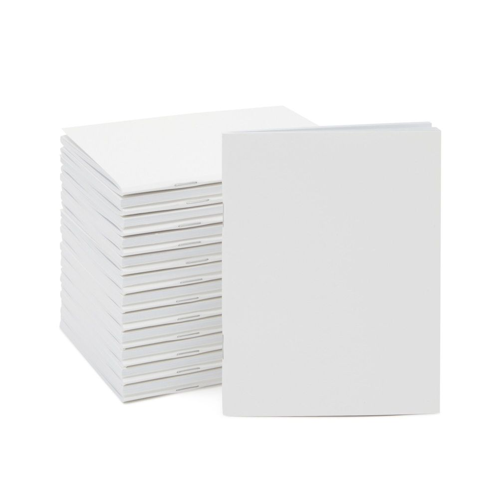 Blank Paper Notebook with 24 Sheets, Unlined Journal (4.25 x 5.5 In, 24 Pack)