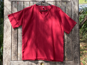 Short Sleeve V Neck Cotton Shirt