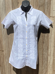 Embroidered Short Sleeve Collar Shirt