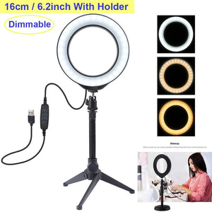 Video Light Dimmable LED Selfie Ring Light USB Photography Light