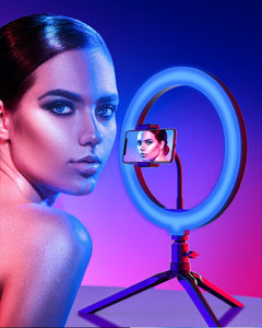 RGB LED Ring Light with Tripod for Phone Dimmable Selfie Ring Light