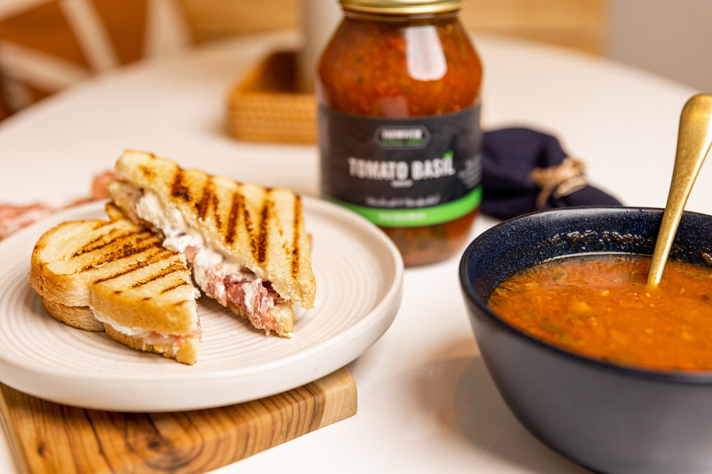 Cranberry Orange Chevre Grilled Cheese and Tomato Basil Soup