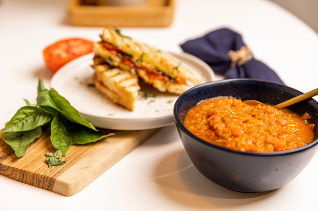 Tomato Bacon Cheddar Grilled Cheese with Creole Soup