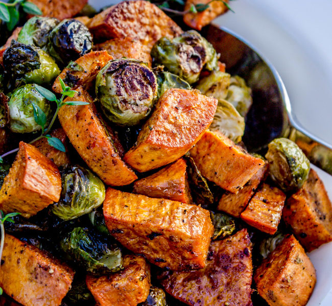 Roasted Sweet Potato Brussel Sprouts Food Charlatan