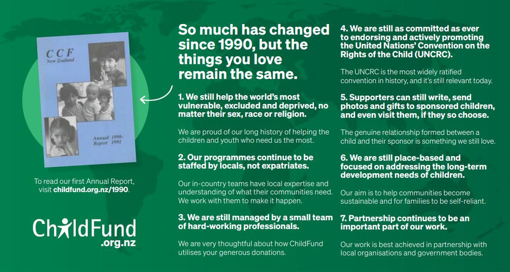 How has ChildFund stayed the same since 1990?