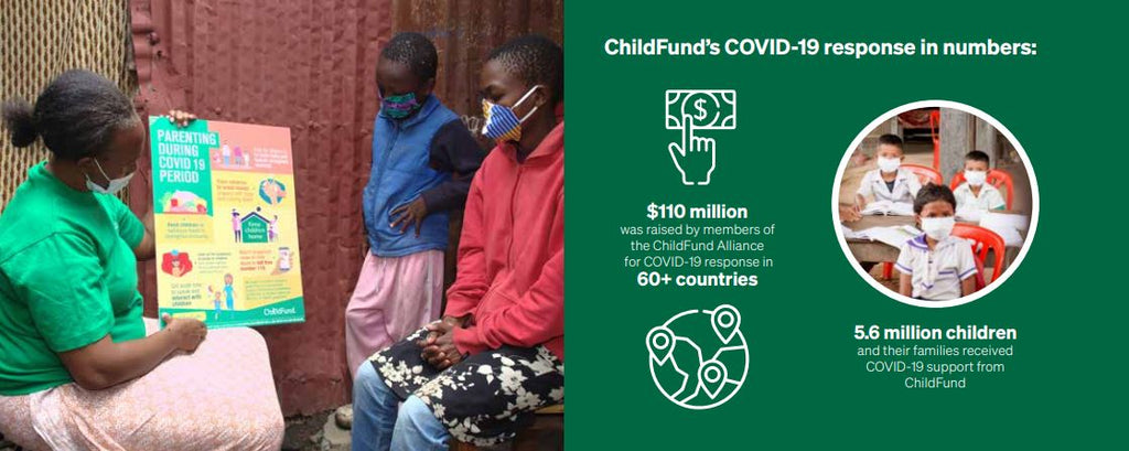 ChildFund responds to COVID-19 around the world. Woman shows children how to respond in their own homes.