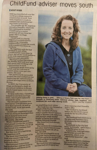 Otago Daily Times article about ChildFund's Sally Angelson