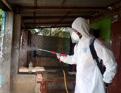 Youth disinfecting public areas in Sri Lanka