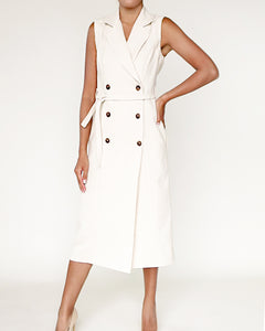 The Alex Sleeveless Trench Dress - Ivory