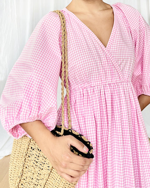 The Luna Dress in Pink Gingham Cotton