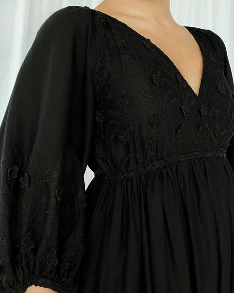 The Bondi Dress in Black Embroidered Cotton