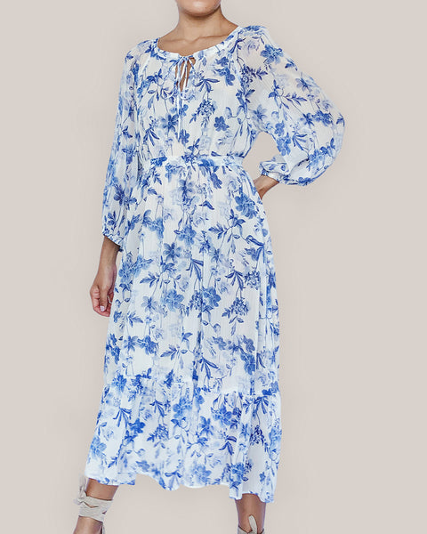 The Tiana Dress in Blue Floral