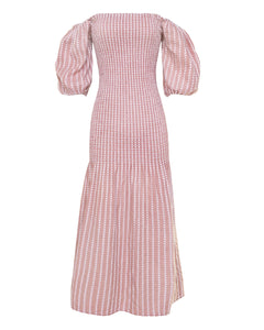 GIA DRESS in dusty rose jacquard cotton