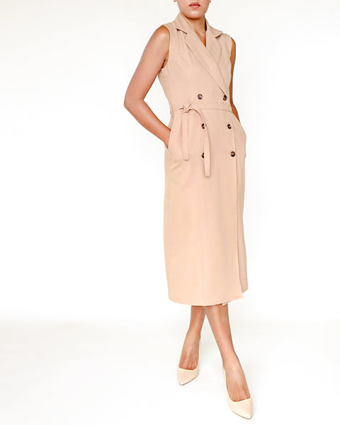 The Alex Sleeveless Trench Dress - Sand
